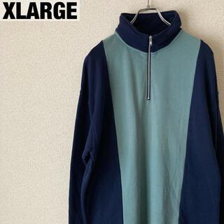 XLARGE - XLARGE ハーフジップ スウェット ブルー