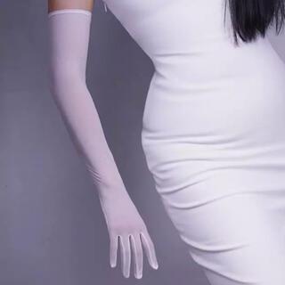 ラヴィジュール(Ravijour)のストレッチメッシュ シースルー ロンググローブ ホワイト 新品未使用(手袋)