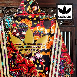 アディダス(adidas)のアディダス 黒 花柄 ジャージ ジャケット ブルゾン パーカー トレーナー (ブルゾン)