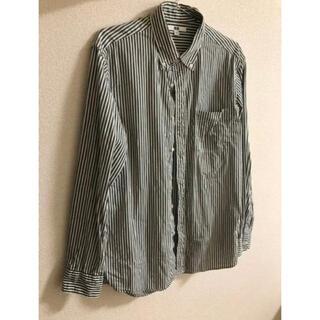 UNIQLO - ユニクログリーン ストライプシャツ メンズ