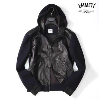エンメティ 11万最高級ラムレザー切り替えジャケット