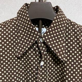 Needles - Needles ニードル 長袖ドットシャツ 水玉 蝶々柄 ブラウン
