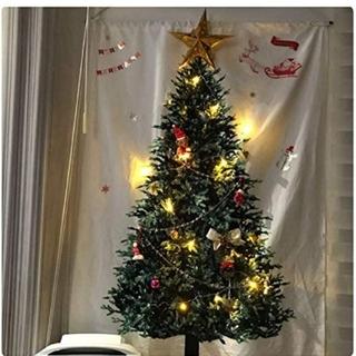 簡単貼り付け♪ クリスマスツリー タペストリー シンプル 場所とらない
