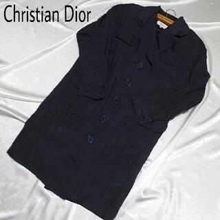 クリスチャンディオール(Christian Dior)のパワーショルダー ChristianDior ロングコート ネイビー シルク混(ロングコート)