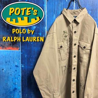 POLO RALPH LAUREN - 【ポロバイラルフローレン】ロゴプリントウッドボタンチノワークシャツ 90s