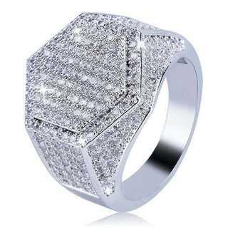 六角形 ジルコニア シルバーリング 指輪 12号 19号 26号 ヒップホップ