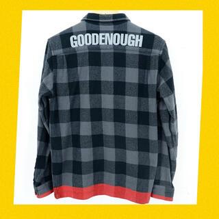 GOODENOUGH - 本物 グッドイナフ 背ロゴ ブロックチェック ラインネルシャツ cap パーカー