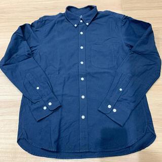 MUJI (無印良品) - 【無印】洗いざらしオックスボタンダウンシャツ  M ネイビー 青
