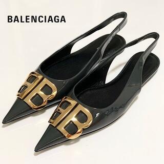 Balenciaga - 2761 未使用 バレンシアガ BB パテントレザー フラットシューズ