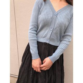 rib knit cardigan(blue)(カーディガン)