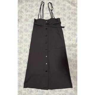 mysty woman サス付きマエボタンナロースカート【チャコール】