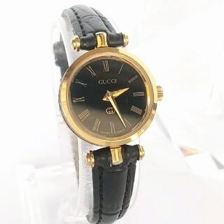 Gucci - ⭐綺麗 グッチ 黒×金色×ローマン 腕時計レディース 着物 新品ベルト シェリー