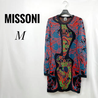 ミッソーニ(MISSONI)のM MISSONI 長袖ワンピース 42 チュニック M 総柄 マルチカラー(ひざ丈ワンピース)
