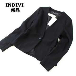 INDIVI - タグ付きインディヴィ★ウール ノーカラージャケット 黒 美シルエット 38(M)