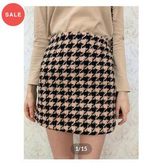ロキエ(Lochie)のepine tweed beige×black check mini skirt(ミニスカート)