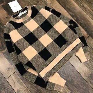 ディオール(Dior)のハイエンドウールチェック柄ラウンドネックレディースセーター(ニット/セーター)