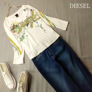 ディーゼル(DIESEL)のDIESEL 7分袖Tシャツ アイボリー ロゴ&ペイント プリントTシャツ(Tシャツ(長袖/七分))