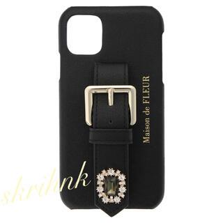 メゾンドフルール(Maison de FLEUR)のメゾンドフルール♡ビジューベルトiPhone11ケース♡黒♡ジルスチュアート(iPhoneケース)