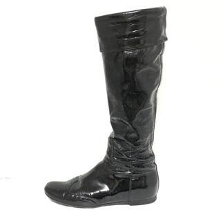 ミュウミュウ(miumiu)のミュウミュウ ロングブーツ 36 1/2 - 黒(ブーツ)
