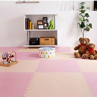 大人気!!可愛い 簡単約6畳用 32枚組!床!カーペット ピンク×ベージュ(カーペット)