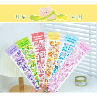 12枚 6枚×2色セット 韓国雑貨!クマさんシール トレカデコ 日記