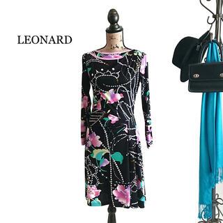 レオナール(LEONARD)のLEONARD レオナール 美品 ワンピース パール 花柄(ひざ丈ワンピース)
