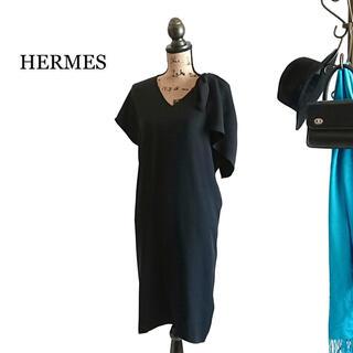 エルメス(Hermes)のHERMES エルメス ワンピース ブラック シルク ドレス(ひざ丈ワンピース)