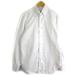 LUIGI BORRELLI - ルイジボレッリ ワイシャツ 長袖 ボタンダウン シャドーストライプ 白 38