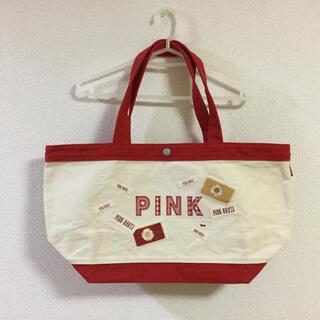 ピンクハウス(PINK HOUSE)の【ほぼ未使用】ピンクハウス 綿 トートバッグ 赤 ワッペン PINKHOUSE(トートバッグ)