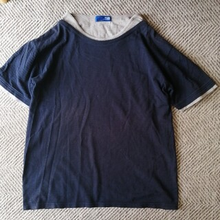 ビームス(BEAMS)のBEAMS☆メンズLサイズ紺×グレー重ね着風Tシャツカットソー(Tシャツ/カットソー(半袖/袖なし))