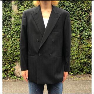 JOHN LAWRENCE SULLIVAN - 【90s】テーラードジャケット ダブル ブラック ストライプ 肩パット入り