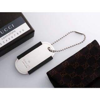 グッチ(Gucci)のS7231M 美品 グッチ ドックタグ ラバー付き チャーム キーリング 箱付き(キーホルダー)