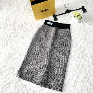 FENDI - 未使用 FENDI フェンディ ツイード ヘリンボーン ロゴ スカート ニット