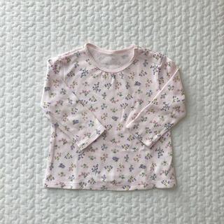 ユニクロ(UNIQLO)のユニクロ ロンT 長袖Tシャツ カットソー ピンク 紫 花 80 女の子(シャツ/カットソー)