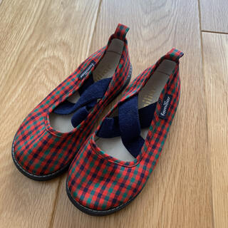 familiar - familiar ファミリア 16cm 靴 スッポリン 赤色 チェック柄