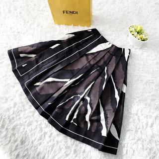 フェンディ(FENDI)の美品 FENDI フェンディ シルク 美フレアライン スカート(ひざ丈スカート)