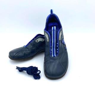 ミュウミュウ(miumiu)のミュウ ミュウ レザースニーカー 23cm〜23.5 ダークネイビー/ブルー(ローファー/革靴)