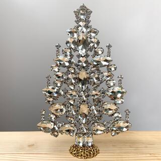 大/チェコガラス/クリスマスツリー/ハンドメイド/クリスタル/ラインストーン
