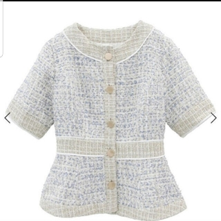 エイミーイストワール(eimy istoire)の新品 eimyistoire ミックスツイード ペプラムジャケット(その他)