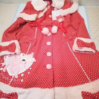 アンジェリックプリティー(Angelic Pretty)のアンジェリックプリティ初版タグ付き完全新品、赤白水玉、小鹿のミルキィちゃんコート(ロングコート)