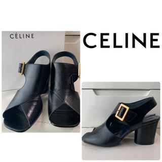 celine - 美品 セリーヌ ブラックレザー サンダル