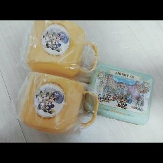 Disney - ディズニーランドホテル アメニティ カンカン 缶 ケース コップ セット