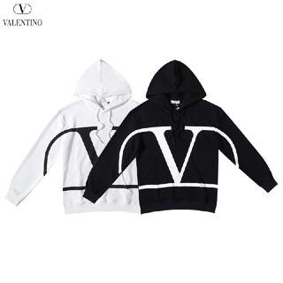 VALENTINO - 2枚1000円引 VALENTINO#071502 ロゴ付き パーカー  黒白