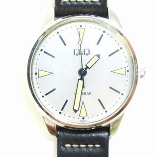 アザー(other)のQ&Q 腕時計 WR 5BAR 稼働品 レザーベルト ラウンド 黒系(腕時計)