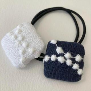 mina perhonen - ミナペルホネン ヘアゴム handmade しかくいくるみボタンセット①