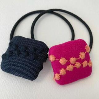 mina perhonen - ミナペルホネン ヘアゴム handmade しかくいくるみボタンセット④