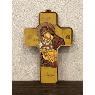聖母子『聖家族』 板絵十字架 ●イタリア製●置物●壁掛け●インテリアにも最適(置物)