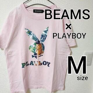 ビームス(BEAMS)の美品 BEAMS × プレイボーイ 半袖Tシャツ メンズ M カットソー ピンク(Tシャツ/カットソー(半袖/袖なし))