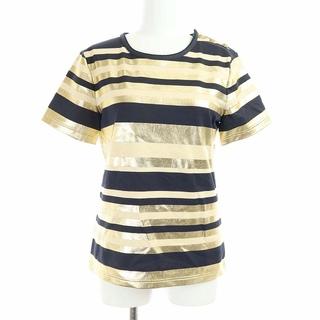 CHANEL - シャネル 半袖 ボーダー Tシャツ カットソー 34 ベージュ ゴールド 黒