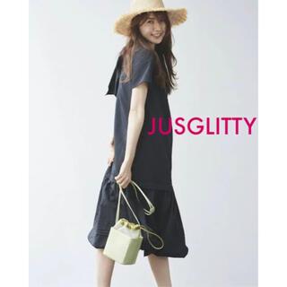JUSGLITTY - JUSGLITTY Aラインタフタワンピース 1 黒